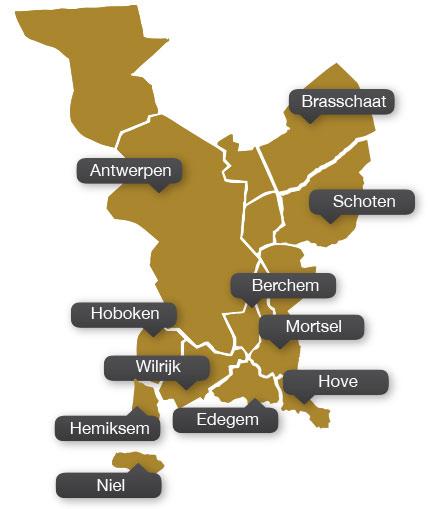 Enkele gemeenten in groot Antwerpen waar -remesco- werkzaam is